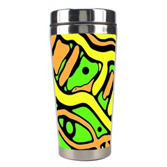 Yellow, Green And Oragne Abstract Art Stainless Steel Travel Tumblers by Valentinaart
