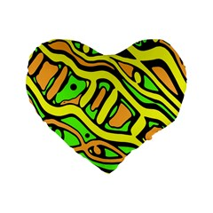 Yellow, Green And Oragne Abstract Art Standard 16  Premium Flano Heart Shape Cushions by Valentinaart