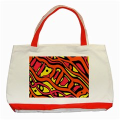 Orange Hot Abstract Art Classic Tote Bag (red) by Valentinaart
