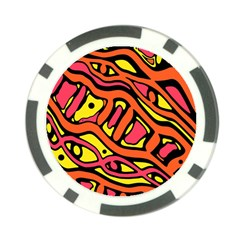 Orange Hot Abstract Art Poker Chip Card Guards by Valentinaart