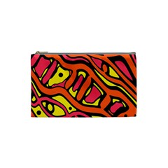 Orange Hot Abstract Art Cosmetic Bag (small)  by Valentinaart