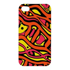Orange Hot Abstract Art Apple Iphone 4/4s Hardshell Case by Valentinaart