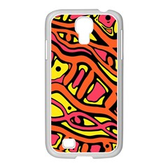 Orange Hot Abstract Art Samsung Galaxy S4 I9500/ I9505 Case (white) by Valentinaart