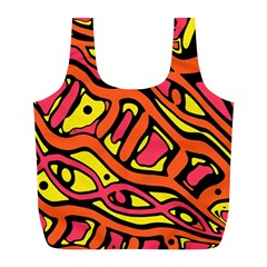 Orange Hot Abstract Art Full Print Recycle Bags (l)  by Valentinaart