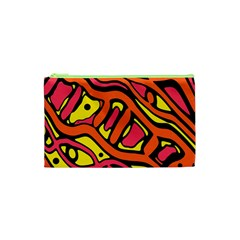 Orange Hot Abstract Art Cosmetic Bag (xs) by Valentinaart