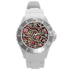 Decorative Abstract Art Round Plastic Sport Watch (l) by Valentinaart