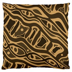 Brown Abstract Art Standard Flano Cushion Case (one Side) by Valentinaart