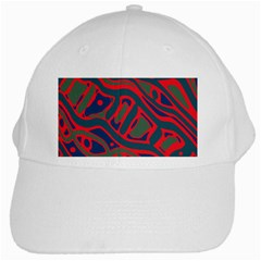 Red And Green Abstract Art White Cap by Valentinaart