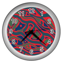 Red And Green Abstract Art Wall Clocks (silver)  by Valentinaart