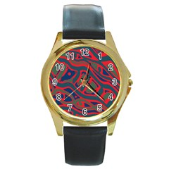 Red And Green Abstract Art Round Gold Metal Watch by Valentinaart