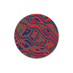 Red And Green Abstract Art Magnet 3  (round) by Valentinaart