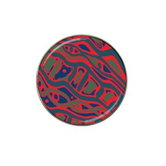 Red And Green Abstract Art Hat Clip Ball Marker (4 Pack) by Valentinaart