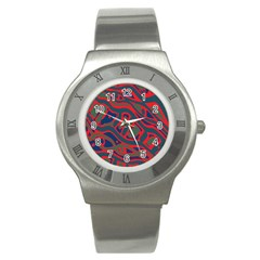 Red And Green Abstract Art Stainless Steel Watch