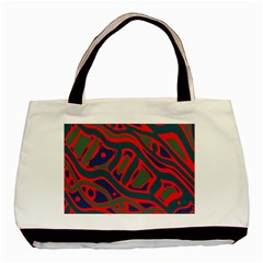Red And Green Abstract Art Basic Tote Bag by Valentinaart