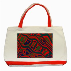 Red And Green Abstract Art Classic Tote Bag (red) by Valentinaart