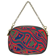 Red And Green Abstract Art Chain Purses (one Side)  by Valentinaart