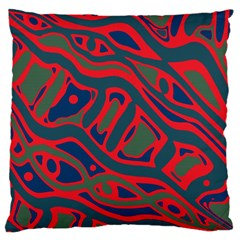 Red And Green Abstract Art Large Flano Cushion Case (two Sides) by Valentinaart