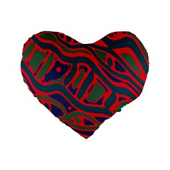 Red And Green Abstract Art Standard 16  Premium Flano Heart Shape Cushions by Valentinaart