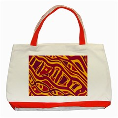 Orange Abstract Art Classic Tote Bag (red) by Valentinaart