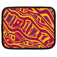 Orange Abstract Art Netbook Case (large) by Valentinaart