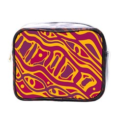 Orange Abstract Art Mini Toiletries Bags by Valentinaart