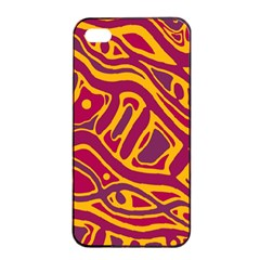 Orange Abstract Art Apple Iphone 4/4s Seamless Case (black) by Valentinaart