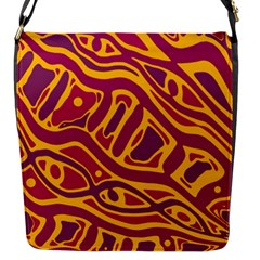 Orange Abstract Art Flap Messenger Bag (s) by Valentinaart