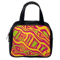 Orange Hot Abstract Art Classic Handbags (one Side) by Valentinaart