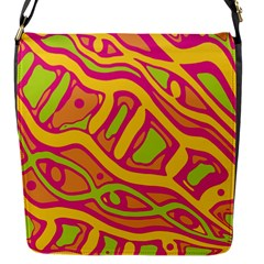 Orange Hot Abstract Art Flap Messenger Bag (s) by Valentinaart