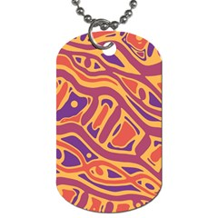 Orange Decorative Abstract Art Dog Tag (two Sides) by Valentinaart