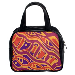 Orange Decorative Abstract Art Classic Handbags (2 Sides) by Valentinaart
