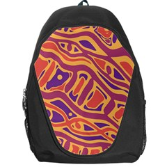 Orange Decorative Abstract Art Backpack Bag by Valentinaart