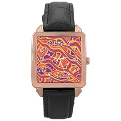 Orange Decorative Abstract Art Rose Gold Leather Watch  by Valentinaart