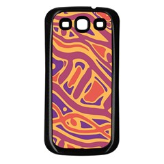 Orange Decorative Abstract Art Samsung Galaxy S3 Back Case (black) by Valentinaart