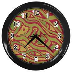 Brown Abstract Art Wall Clocks (black) by Valentinaart