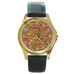 Brown Abstract Art Round Gold Metal Watch by Valentinaart