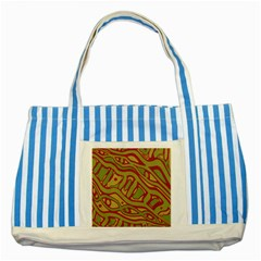 Brown Abstract Art Striped Blue Tote Bag by Valentinaart