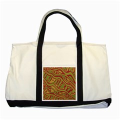 Brown Abstract Art Two Tone Tote Bag