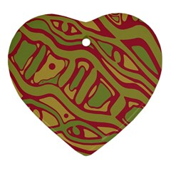 Brown Abstract Art Heart Ornament (2 Sides) by Valentinaart