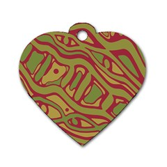 Brown Abstract Art Dog Tag Heart (one Side) by Valentinaart
