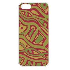 Brown Abstract Art Apple Iphone 5 Seamless Case (white) by Valentinaart