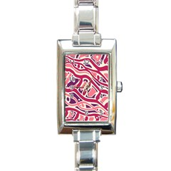 Pink And Purple Abstract Art Rectangle Italian Charm Watch by Valentinaart