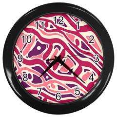 Pink And Purple Abstract Art Wall Clocks (black) by Valentinaart