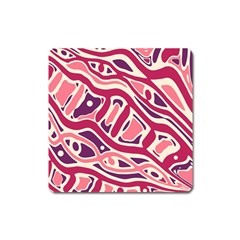 Pink And Purple Abstract Art Square Magnet by Valentinaart