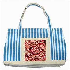 Pink And Purple Abstract Art Striped Blue Tote Bag by Valentinaart