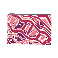 Pink And Purple Abstract Art Cosmetic Bag (large)  by Valentinaart