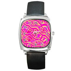 Pink Abstract Art Square Metal Watch by Valentinaart