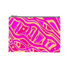 Pink Abstract Art Cosmetic Bag (large)  by Valentinaart