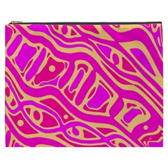 Pink Abstract Art Cosmetic Bag (xxxl)  by Valentinaart
