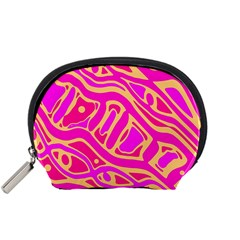 Pink Abstract Art Accessory Pouches (small)  by Valentinaart